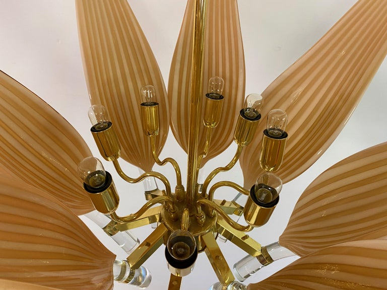 Late 20th Century Murano Glass and Brass Chandelier For Sale 1