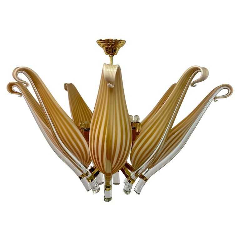 Late 20th Century Murano Glass and Brass Chandelier For Sale