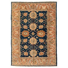 Late 20th Century Navy Blue Gold Ivory Floral Persian Sultananbad Design Rug