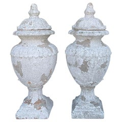 Late 20th Century Neoclassical Style Terracotta Urns, Pair