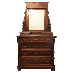 Late 20th Century Original Tuscan Carved Chest of Drawers Walnut Marble