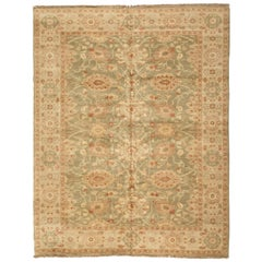 Late 20th Century Oversize Floral Green and Ivory Egyptian Rug Persian Design