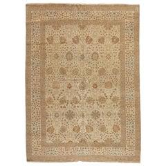 Late 20th Century Oversize Ivory Light Brown Egyptian Rug Persian Tabriz Design