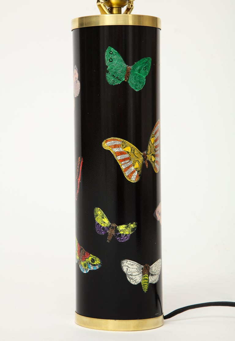 Late 20th Century Pair Fornasetti Farfalle Butterfly Table Lamps, Italy In Good Condition For Sale In New York, NY