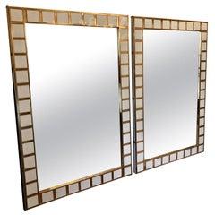 Late 20th Century Pair of Big Size Brass & White Milk Murano Glass Wall Mirrors