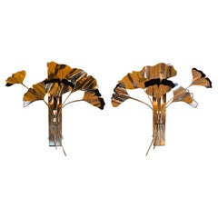 """Late 20th Century Pair of Black Painted & Brass """"Bunch of Gingko Leaves"""" Sconces"""