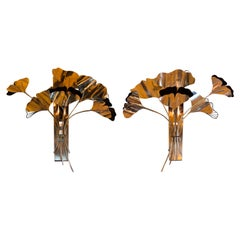 """Late 20th Century Pair of Brass & Black Painted """"Bunch of Gingko Leaves"""" Sconces"""