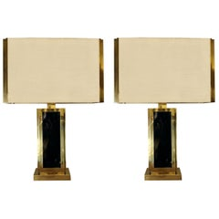 Late 20th Century Pair of Brass & Green Glass Table Lamps with Shades by Liwan's