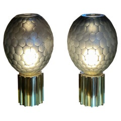 Late 20th Century Pair of Faceted Gray Murano Glass & Brass Table Lamps