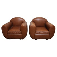 Late 20th Century Pair of French Leather Club Chairs