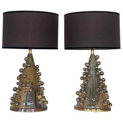 Late 20th Century Pair of Gold/Green Glazed Earthenware Table Lamps with Shades