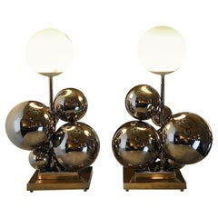 """Late 20th Century Pair of Italian Space Age Brass & Nickel """"Bubbles"""" Table Lamps"""