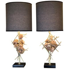 Late 20th Century Pair of Mineral Crystals and Brass Brutalist Table Lamps