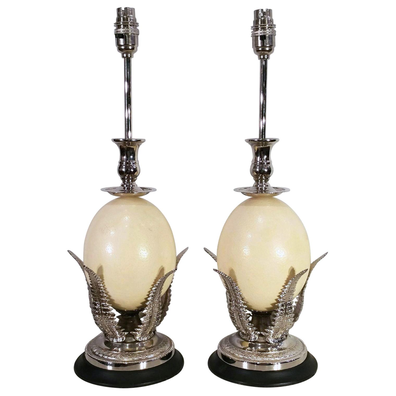 Late 20th Century Pair of Ostrich Egg Table Lamps