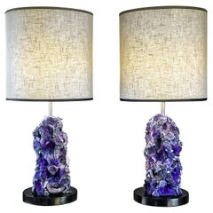 Late 20th Century Pair of Purple Agate & Black Iron Table Lamps with Shades