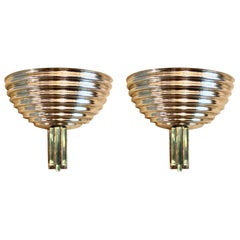 Late 20th Century Pair of Ribbed Gold Metal and Emerald Green Glass Sconces