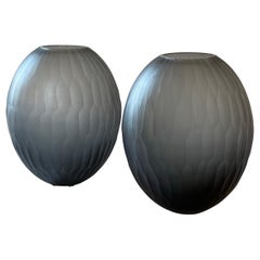 Late 20th Century Pair of Sculptural Gray Murano Glass Vases