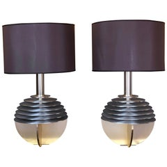 Late20th Century Pair of Space Age Aluminium & Gold Table Lamps w/ Brown Shades