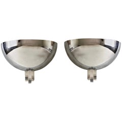 Late 20th Century Pair of Space Age Nickel Finish and Transparent Lucite Sconces