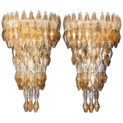 Late 20th Century Pair of Transparent and Amber Polyhedrons Murano Glass Sconces
