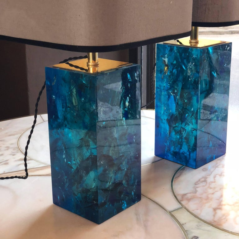 Late 20th Century Pair Of Turquoise Blue Fractal Resin