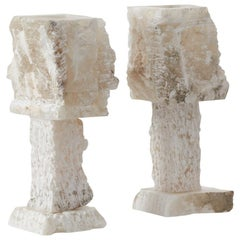 Late 20th Century Pair Rough Hewn Alabaster Lamps, Catalonia