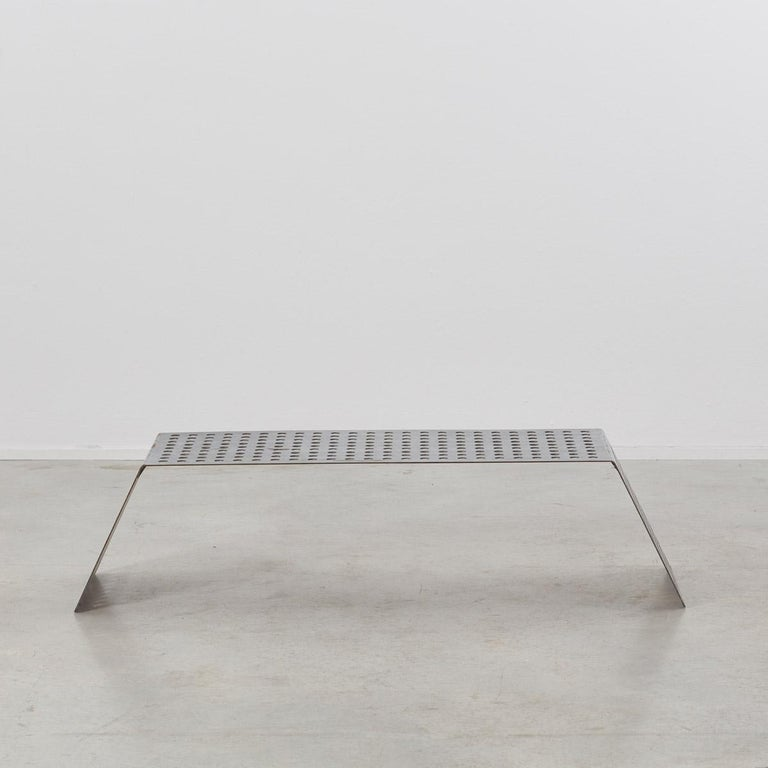 Post-Modern Late 20th Century Perforated Aluminum Metal Table