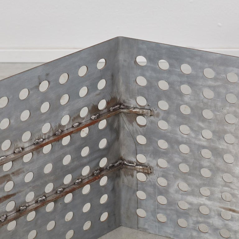 Late 20th Century Perforated Aluminum Metal Table In Excellent Condition In London, GB