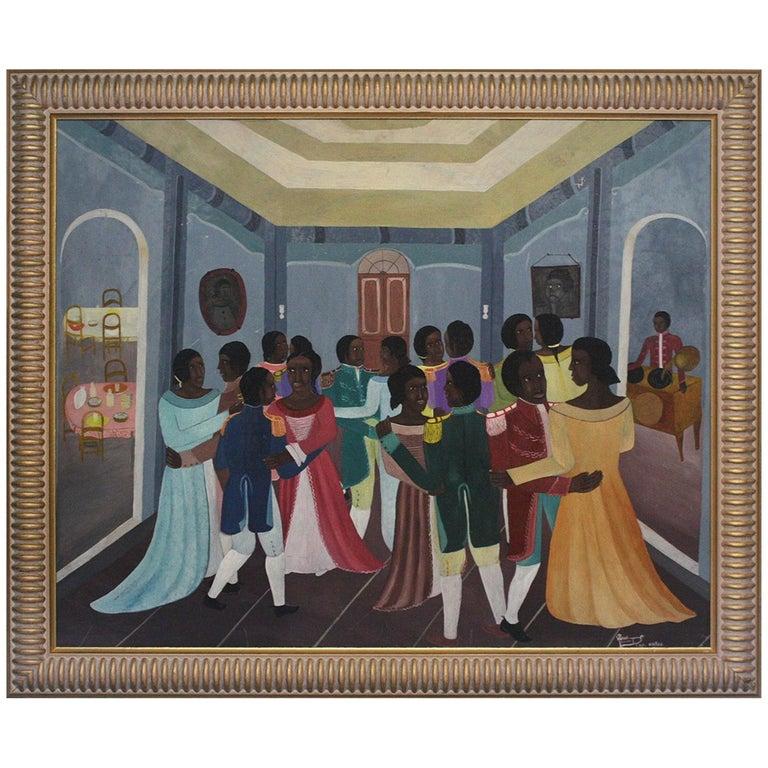 "Late 20th Century Phanel Toussaint ""The Dance"" Oil on Masonite Cap Haitien For Sale"