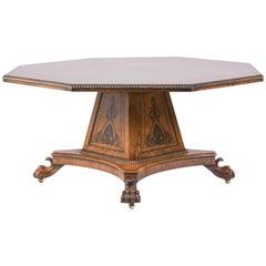 Late 20th Century Pollard Oak Octagonal Dining Table with Ebony Inlay