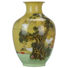 Late 20th Century PRoC Chinese Porcelain Vase with Cranes High quality