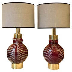 Late 20th Century Red with Grey Murrine Blown Glass and Brass Table Lamps, Pair