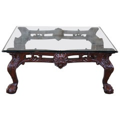 Late 20th Century Scalloped Mahogany & Glass Chippendale Ball Claw Coffee Table