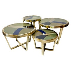 Late 20th Century Set of Four Round Brass Coffee Tables w/ Opaline Glass Tops