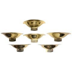 Late 20th Century Six Space Age Gold Metal and Transparent Lucite Sconces
