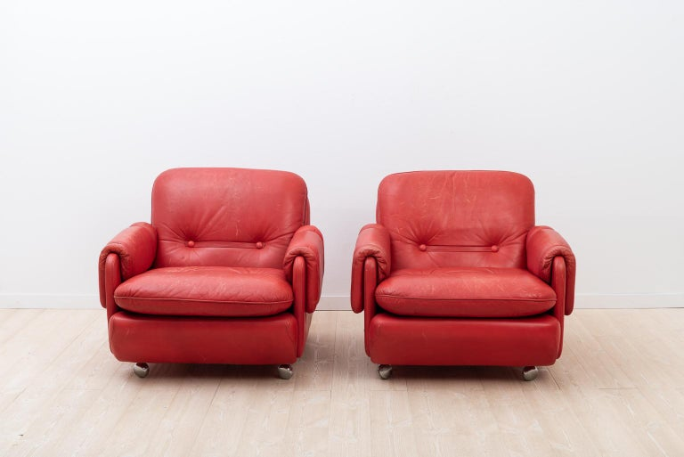Groovy Lombardia Red Leather Armchairs By Risto Holme For Ikea Evergreenethics Interior Chair Design Evergreenethicsorg