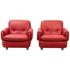 Lombardia Red Leather Armchairs by Risto Holme for IKEA
