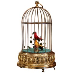 Late 20th Century Swiss Automaton Brass Cage with Two Moving Birds