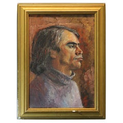 Late 20th Century Unknown Artist Acrylic on Canvas Painting 'Man's Portrait'