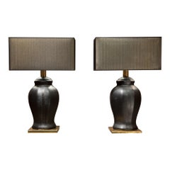 Late 20th Century Urn Shaped Black Leather and Gilded Brass Italian Lamps, 1970