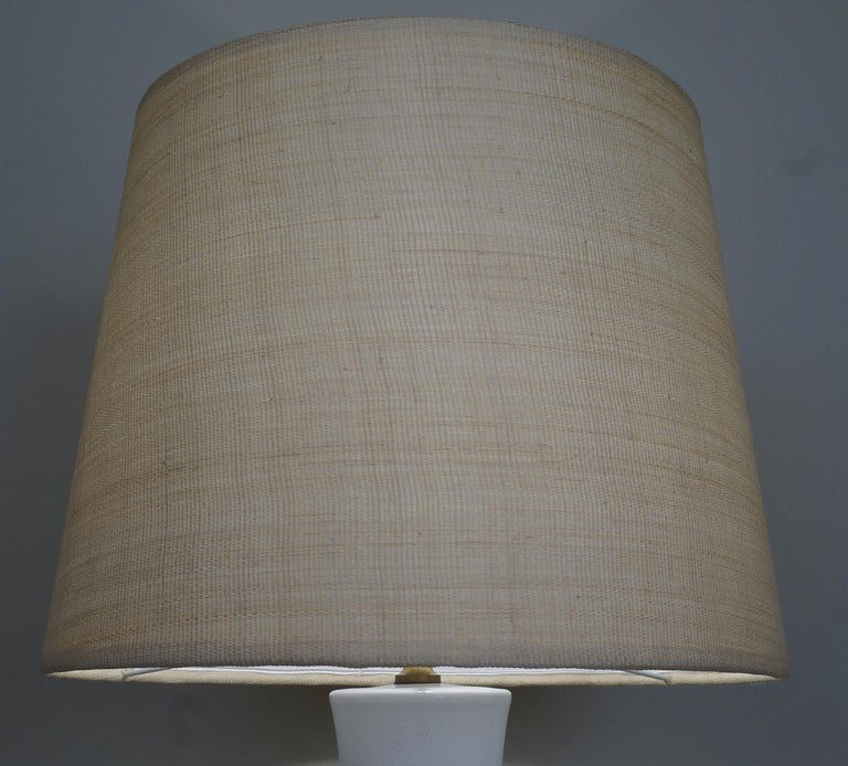 French Late 20th Century White Enameled Ceramic Table Lamp For Sale