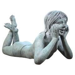 Late 20th Century Bronze Child Garden Verdigris Sculptor Manner of John Robinson