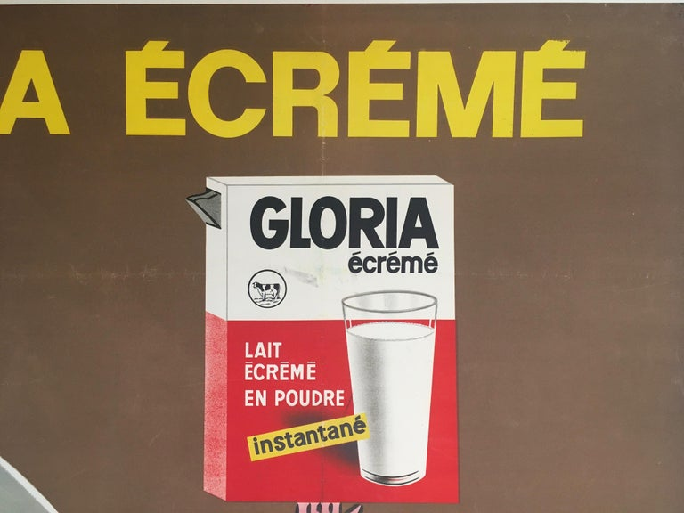 Late 1960s original vintage French coffee poster, 'Gloria Ecreme' by Savignac