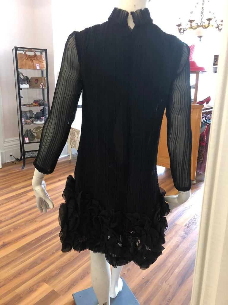 Late 60s Teal Traina Black Pleated  Dress  For Sale 1