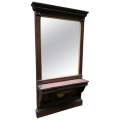 Late American Victorian Walnut and Oak Leaf Pier Mirror