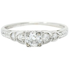 Late Art Deco 0.36 Carat Diamond 14 Karat White Gold Engagement Ring