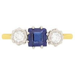 Late Art Deco 0.50 Carat Sapphire and Diamond Three-Stone Ring, circa 1930s
