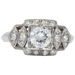 Late Art Deco 0.72 Carat Diamond Platinum Engagement Ring