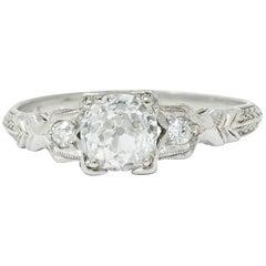 Late Art Deco 0.90 Carat Diamond Platinum Tulip Engagement Ring GIA
