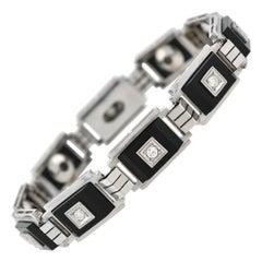 Late Art Deco 1 Carat Diamond and Onyx Link Bracelet